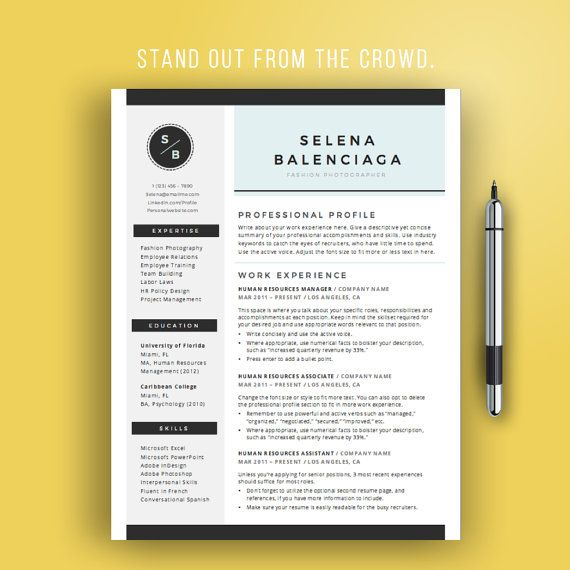 Creative Resume Template for Word, Creative CV Template, Modern