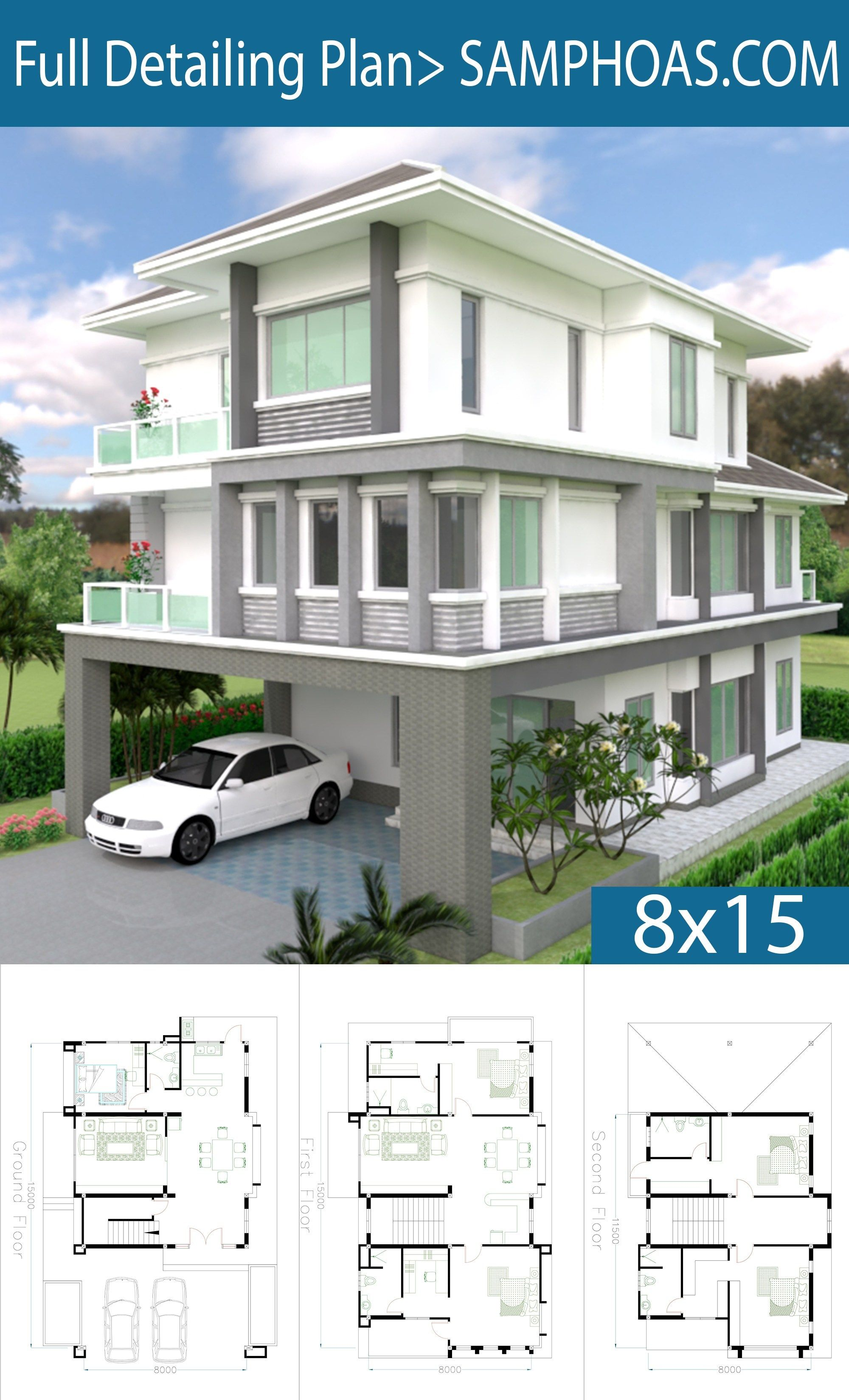 Sketchup 5 Bedrooms House Plan 8x15m Samphoas Plan Contemporary House Plans 5 Bedroom House Plans Architecture House