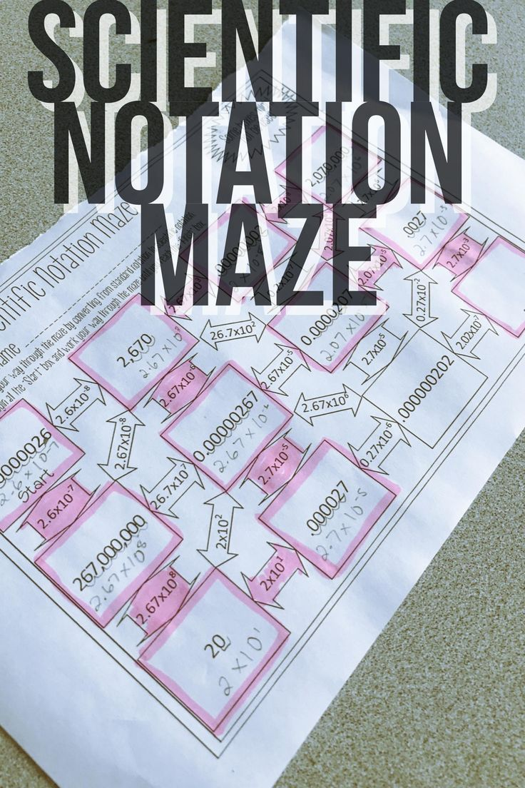 Scientific Notation Maze Scientific notation, 8th grade