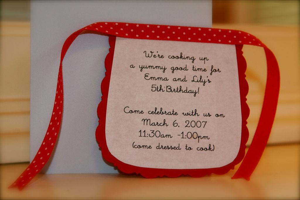 Cooking Party Invitations ~ cute little diy aprons | Kids Birthday ...
