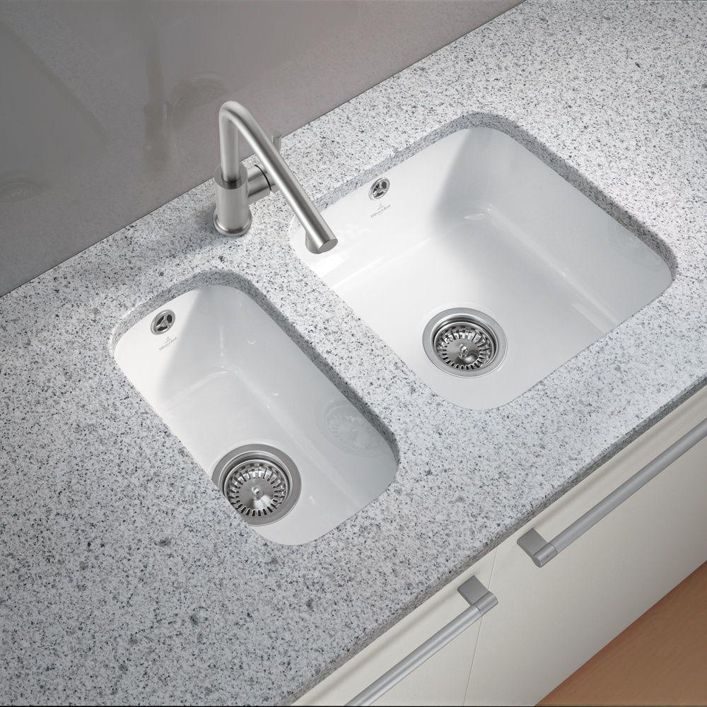 buy villeroy boch cisterna 5026 white ceramic undermount kitchen sink waste from taps uk uks specialist kitchen sinks and taps supplier - Double Ceramic Kitchen Sink