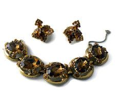 Vintage Chunky Topaz And Amber Bracelet And Earrings Set - Vintage Lane Jewelry - 1