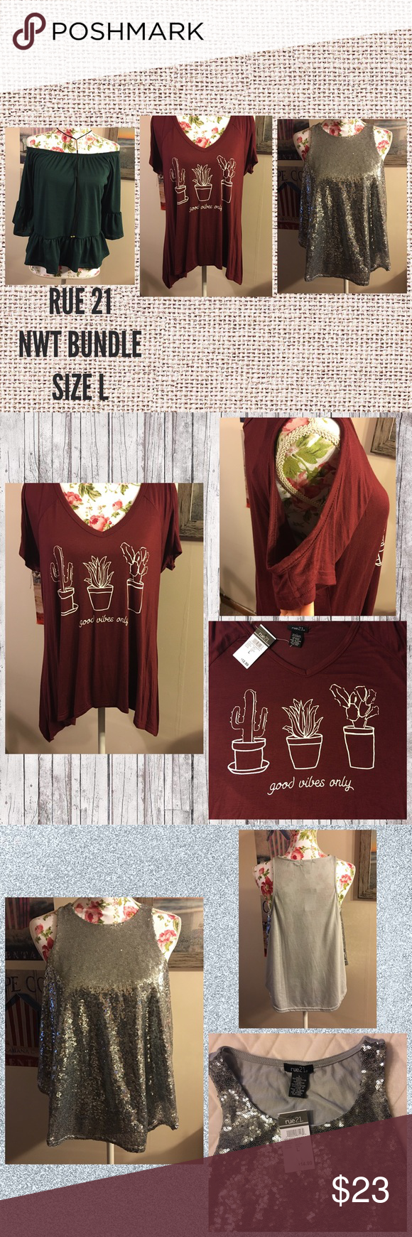 🔥PRICE DROP🔥NWT RUE 21 BUNDLE SIZE LARGE NWT RUE 21 SHIRT BUNDLE. Green off shoulder has attached choker, maroon shirt has circular cut outs in sleeve, and tank is full of beautiful sequins. Each one is an eye catcher. Rue 21 Tops Tees - Short Sleeve