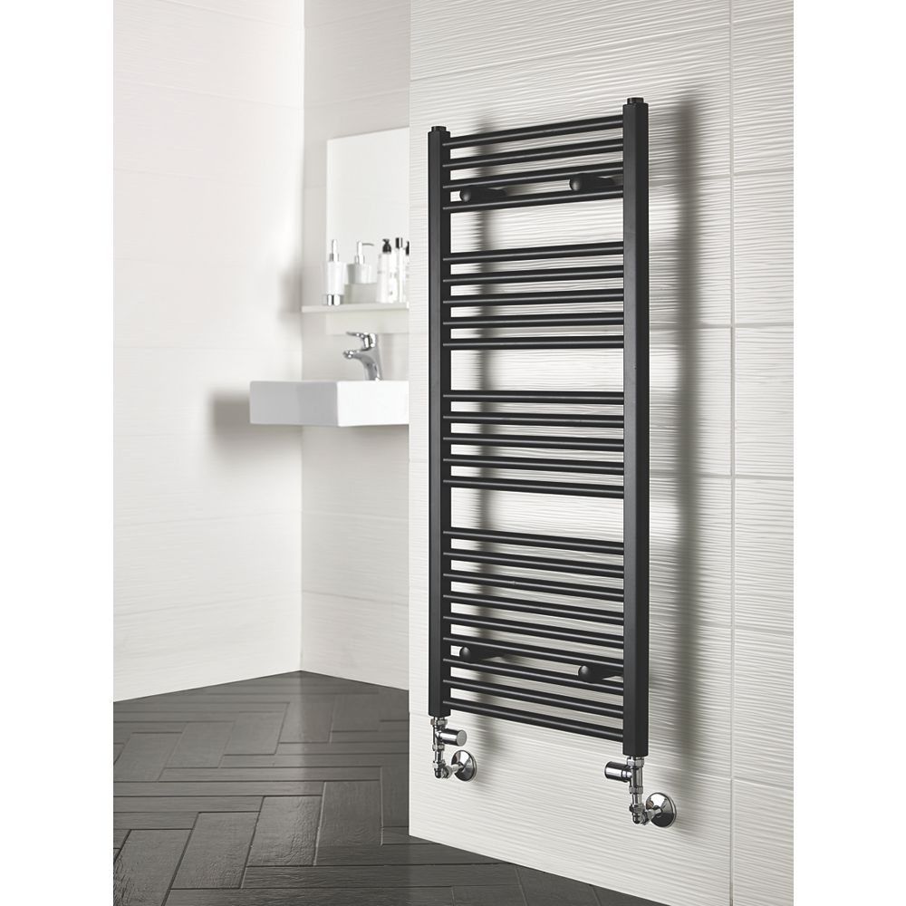 Reina Flat Ladder Towel Radiator Matt Black 1100 X 500mm 560w 1908btu Towel Radiators Bathroom Redesign Radiators Modern Towel Radiator