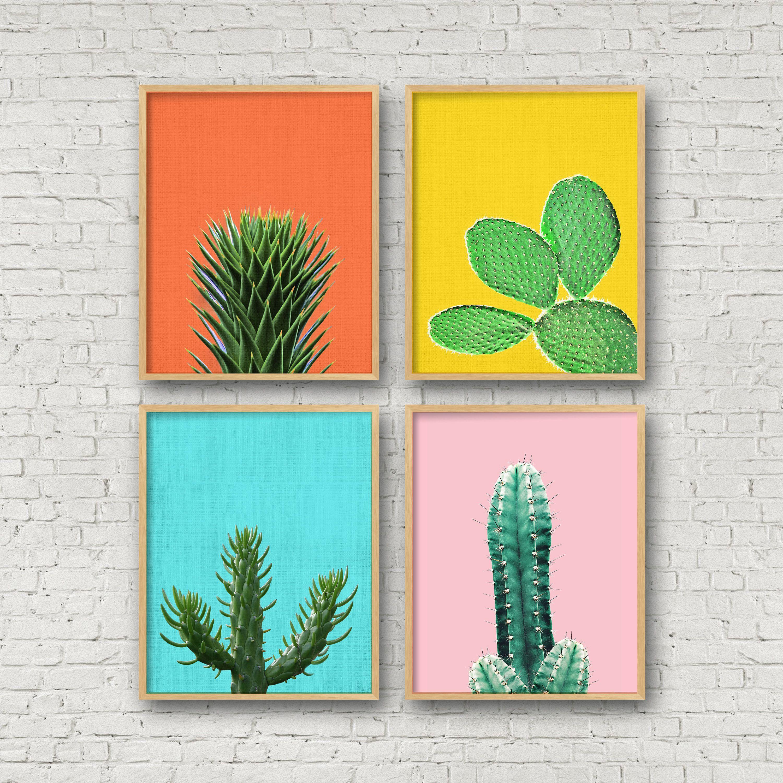 Cactus Set Colorful Cactus Print Colored Cacti Cactus Etsy In 2020 Cactus Wall Art Cactus Art Green Printable Art