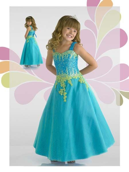 259541fe827d7 formal dresses for 11 year old girls | Girls sweetheart pageant gown in  blue and lime