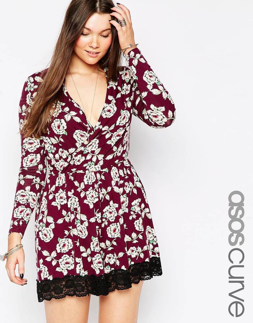 ASOS CURVE Wrap Playsuit with Lace Hem in Vintage
