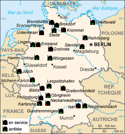 Image result for German nuclear power stations map