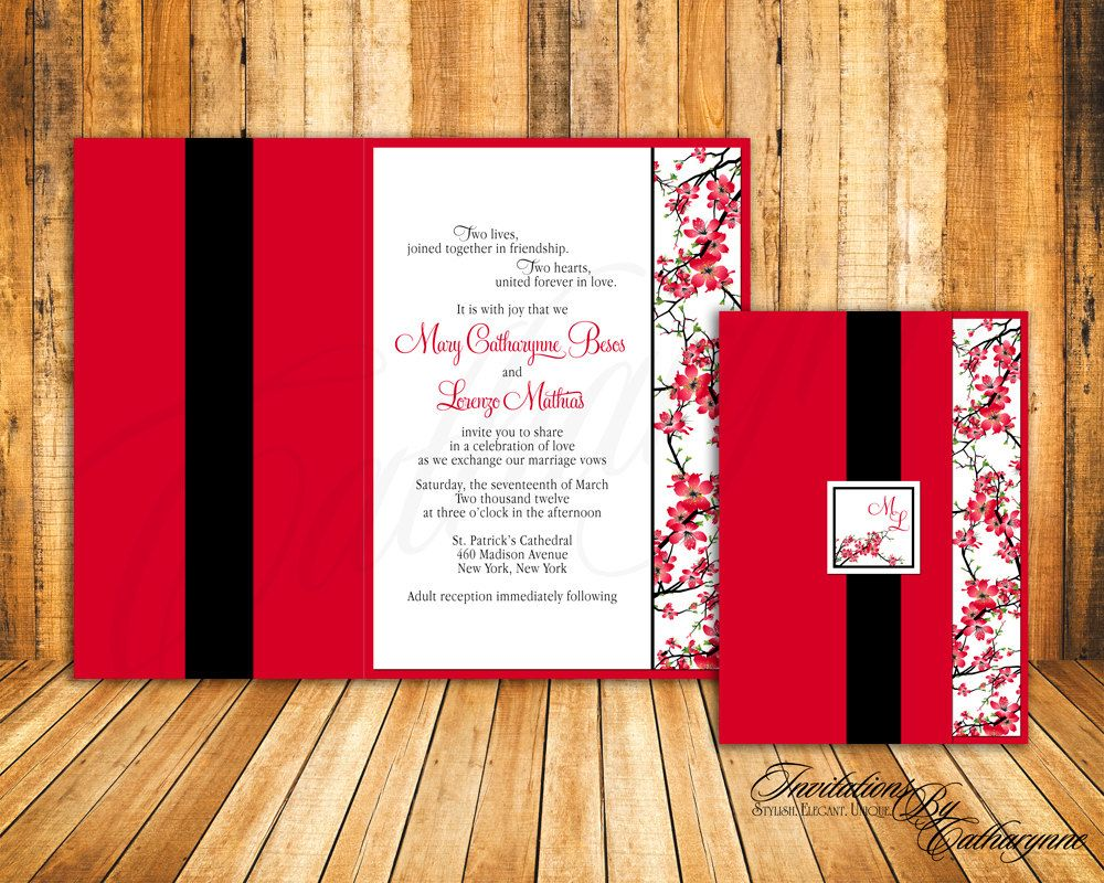 Cherry Blossom Wedding Invitations - in Red and Black. $2.60, via ...