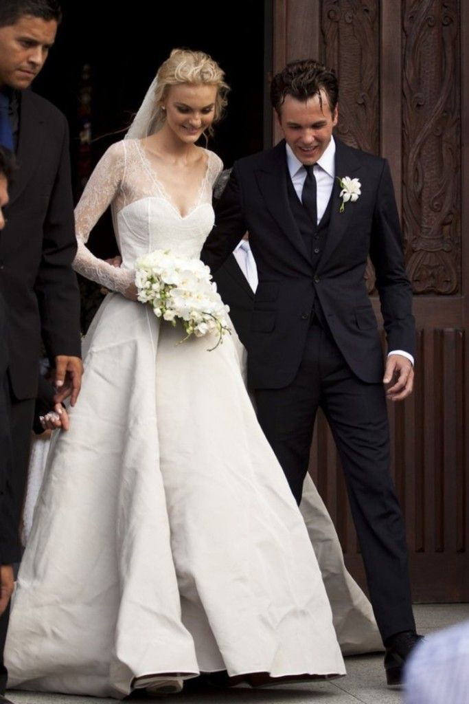 35 Most Beautiful Wedding Gowns of All Time - Caroline Trentini in Olivier Theyskens