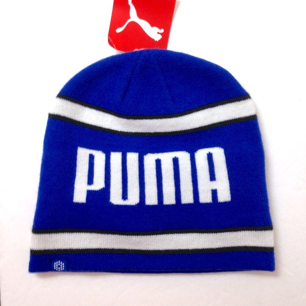 New 22 PUMA BEANIE Blue White Black Winter Knit Big Logo Skull Hat Ski  Men Women  PUMA  Beanie 3865386412a5