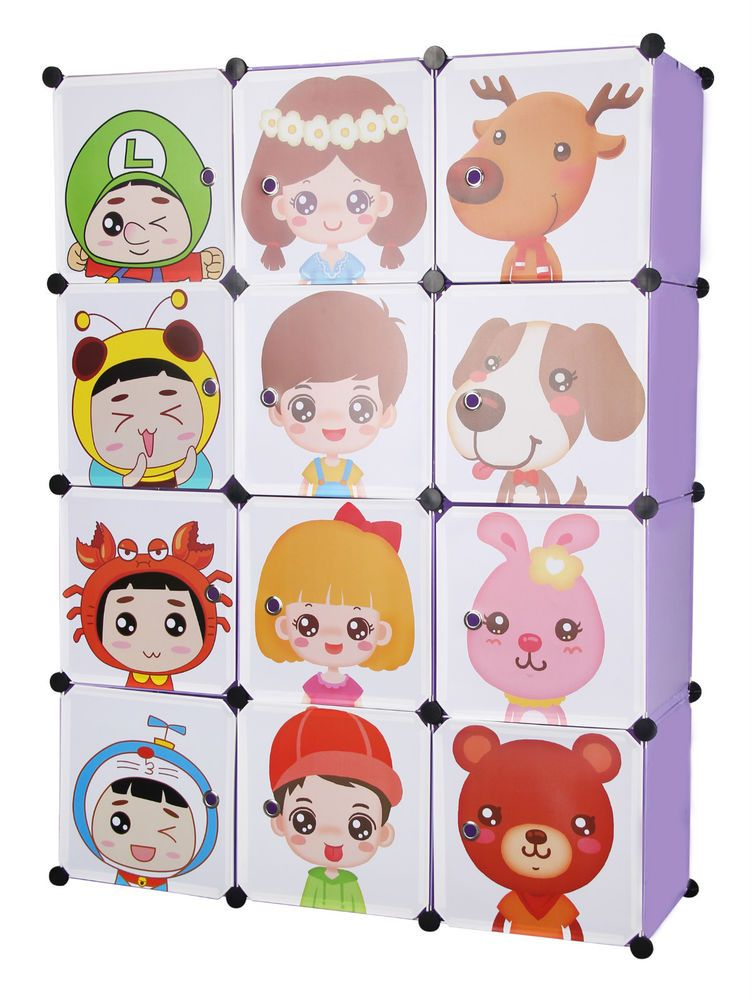 Kids Toy Box Wardrobe Children Storage Boxes Character Design Various Colours