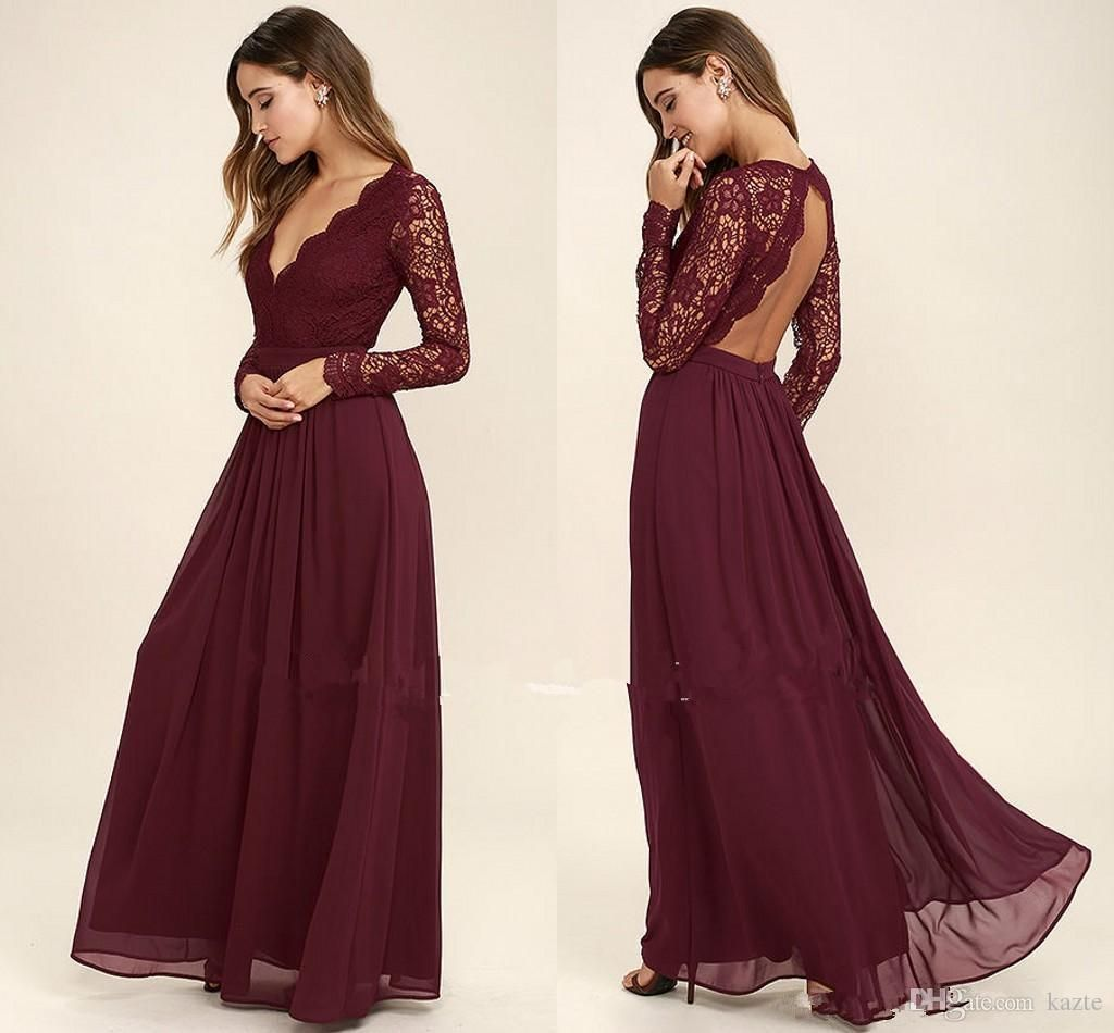 Burgundy Lace Country Long Sleeve Bridesmaid Dresses 2017 Modest
