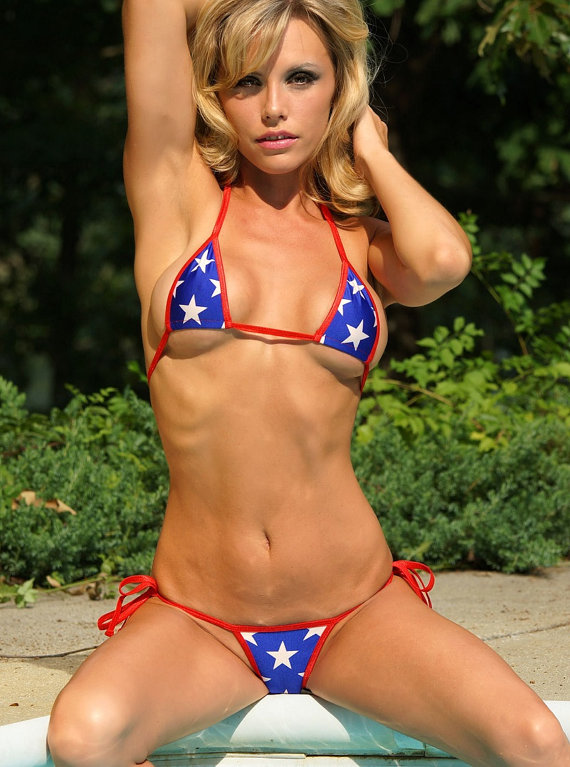 b33a9b9155 Patriotic 4th of July Small Scrunch Bikini 3 Piece Set - Brazilian Bottom