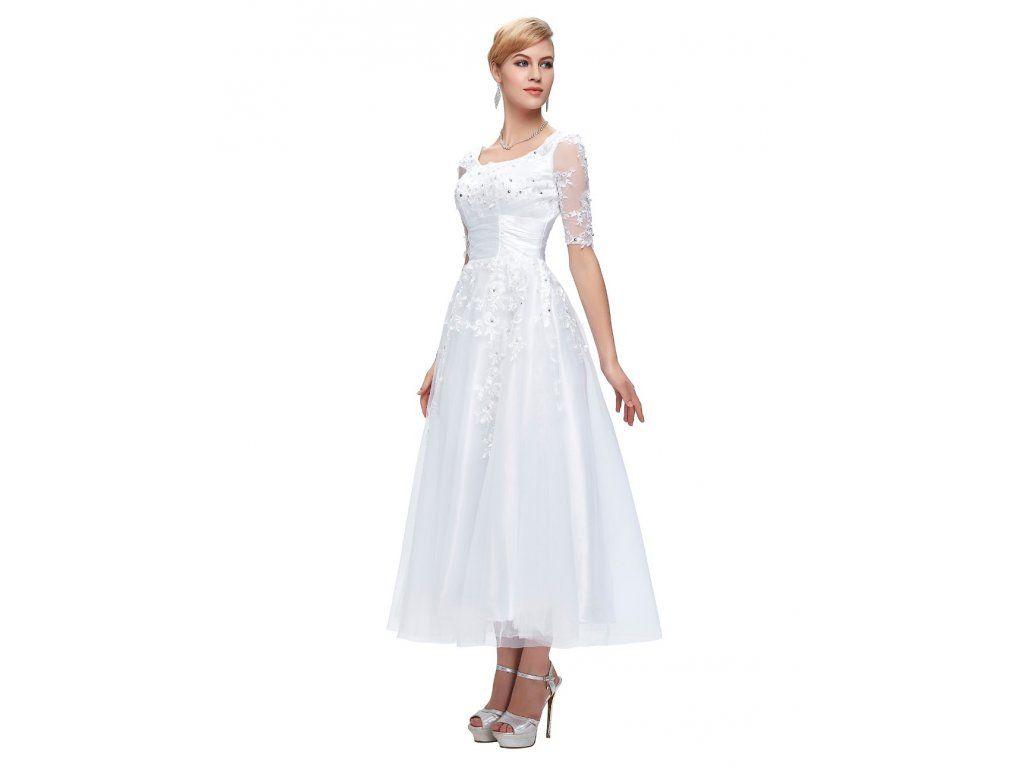 BÍLÉ ŠATY GRACE KARIN. Vkusné tylové společenské šaty vhodné jako SVATEBNÍ.  Šaty jsou zdobené 6ca3b054929