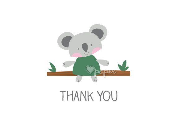 Koala Bear Animal Printed Thank You Cards Folded By Hartpaper Print Thank You Cards Bridesmaid Thank You Cards Personal Cards