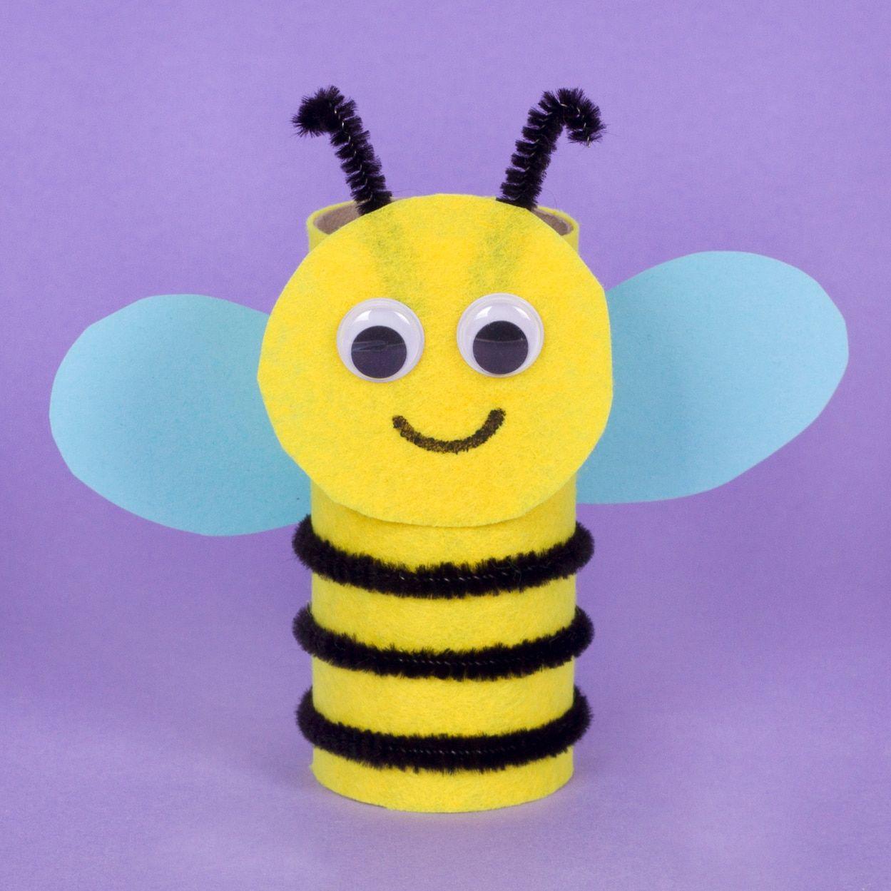 Bumble bee pal art activities for kids cardboard tube