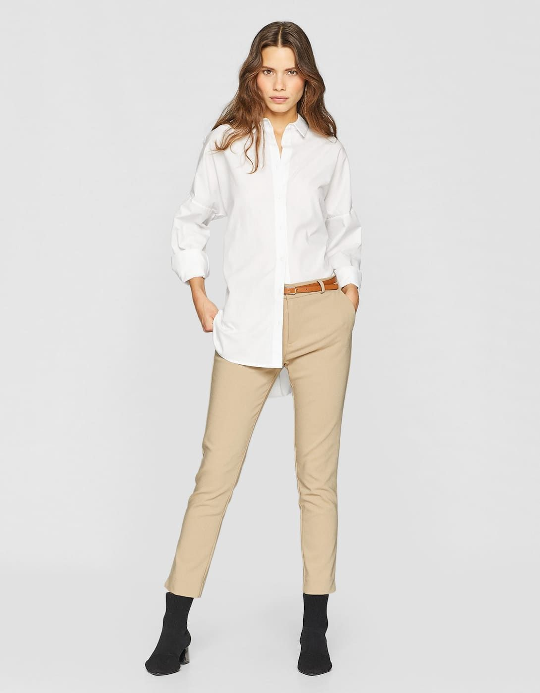 Smart Trousers With Belt Trousers Stradivarius Italy 20 Clothes Stradivarius Trousers