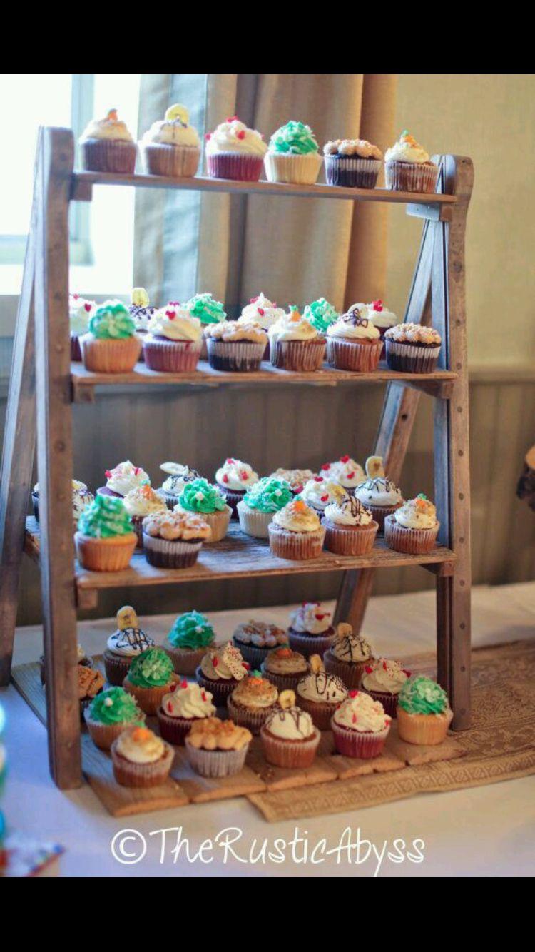 Cupcake rack rustic cupcake stands diy cupcake stand