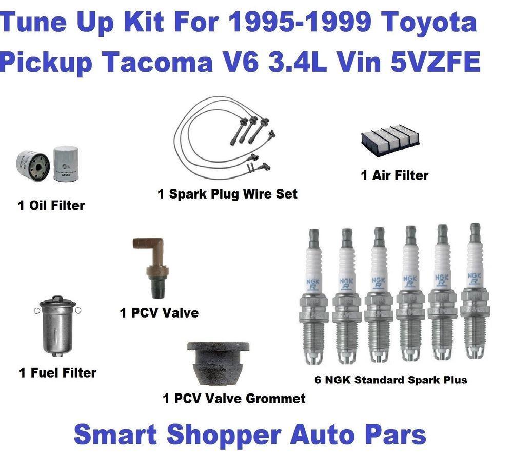 Tune Up Kit For 95 99 Toyota Tacoma V6 Spark Plug Wire Set Oil Filter Pcv Valv Spark Plug Oil Filter Plugs