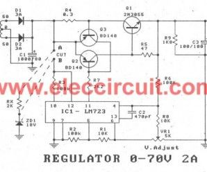 0 70v power supply,2a variable using lm723 and 2n3055 electronic