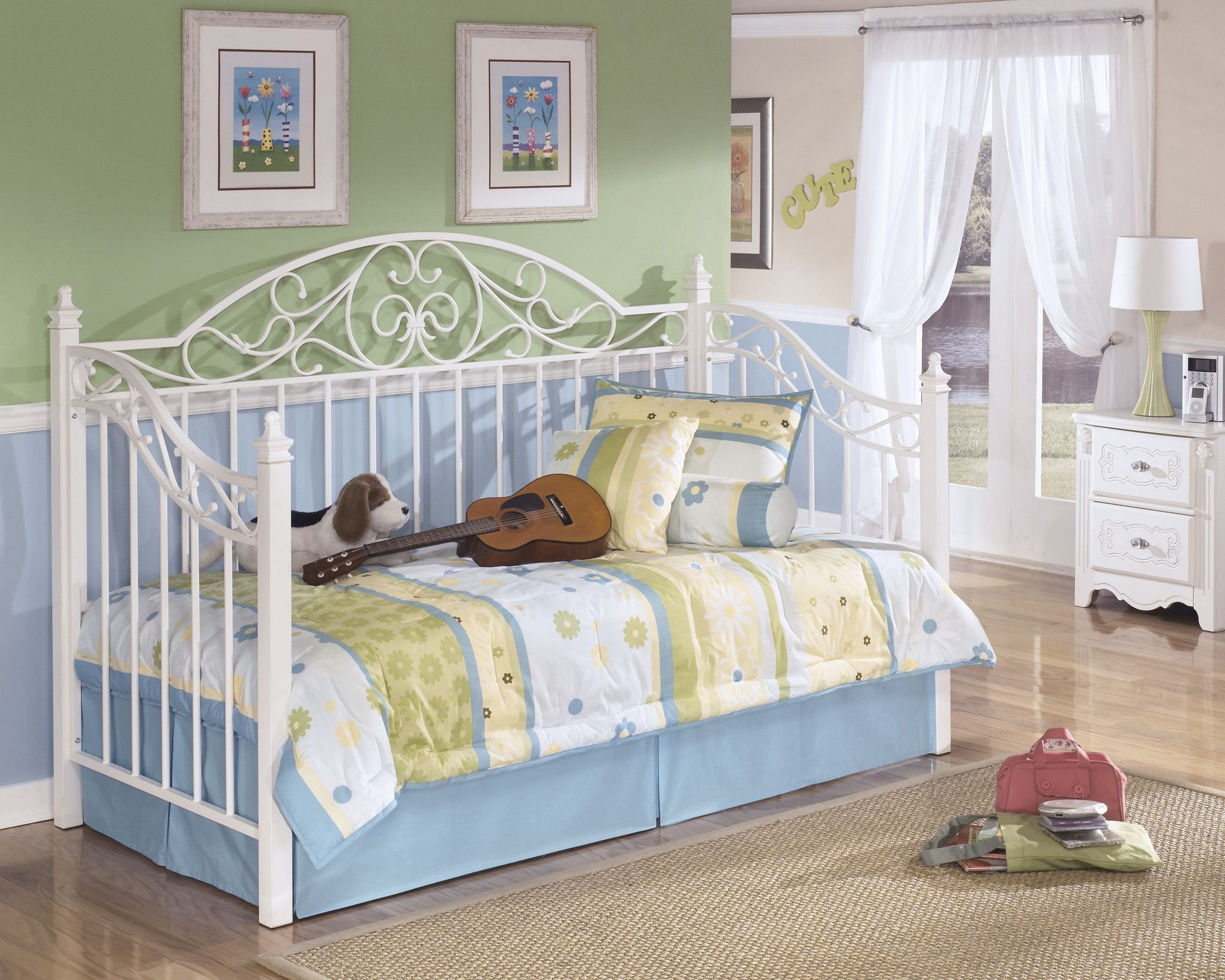 Exquisite Kids Metal Day Bed with Deck Outfit My Home