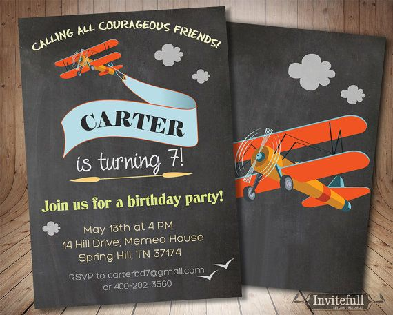 Printable Birthday Invitations For Boy ~ Printable airplane invitation boy birthday invitation birthday
