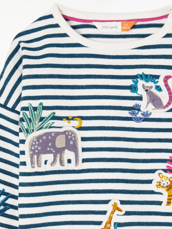55d9353f BuyJohn Lewis & Partners Baby Animal Striped T-Shirt, Multi, 0-3 months  Online at johnlewis.com