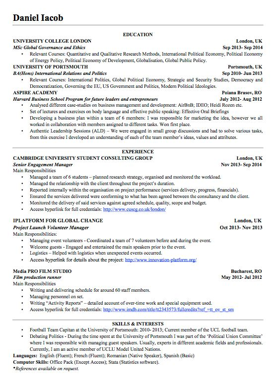 cv template 18 year old