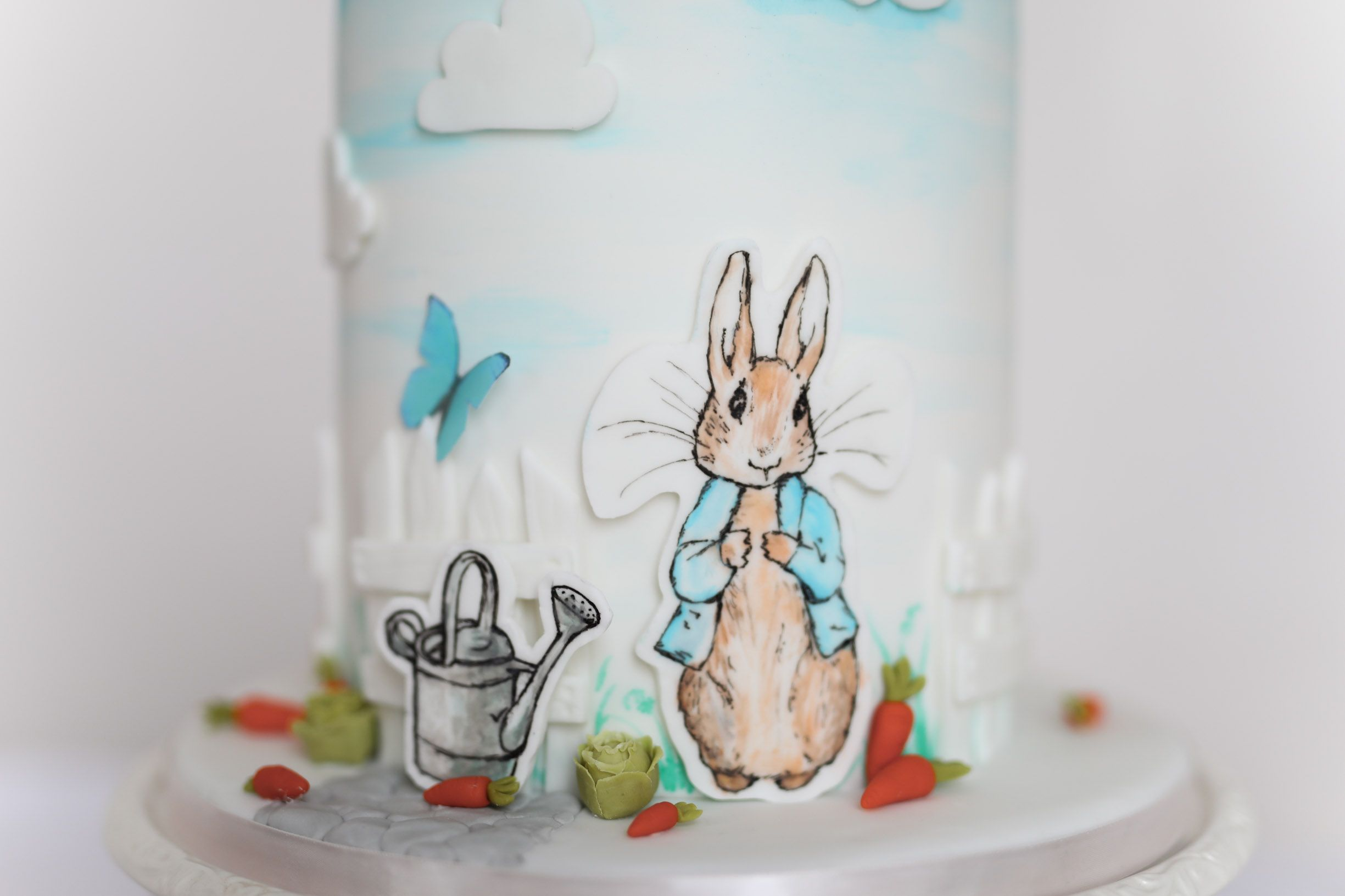 Hand drawn and hand painted peter rabbit design peter