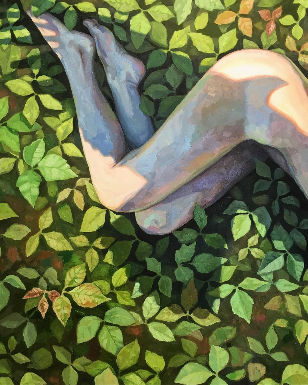 "Detail. ""Leaves of three (let me be)"" oil on canvas 36""x60"". #elodygyekisartist #elodygyekisart #donotrevealme"