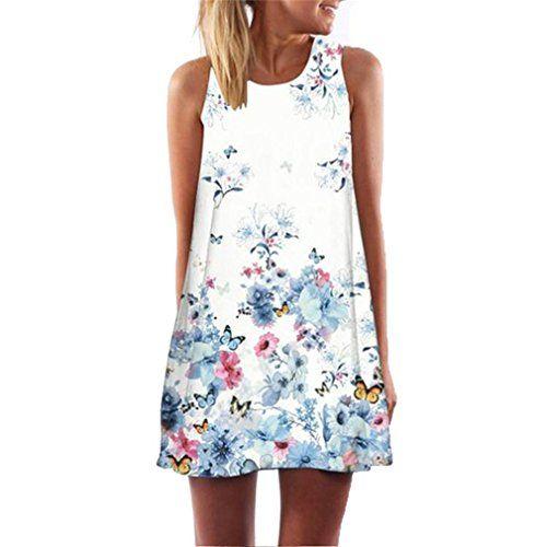 405b72777abc5 Vintage Robe Boho Robe de Plage Fille Été Mini robes Femmes Sans Manches D  été