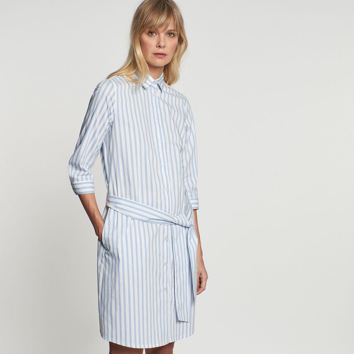 popeline midi kleid aus baumwollmischung | oberhemden