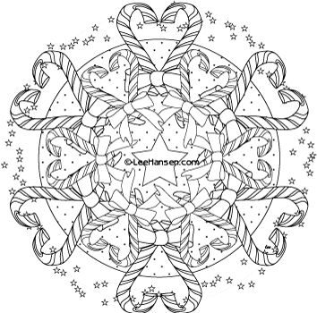 Candy Cane Hearts Adult Coloring Page Mandala  Printables