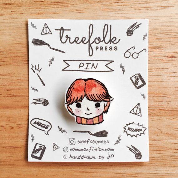 Ron Weasley Hand-drawn Pin  Handmade Pin/Brooch  by CommonFiction
