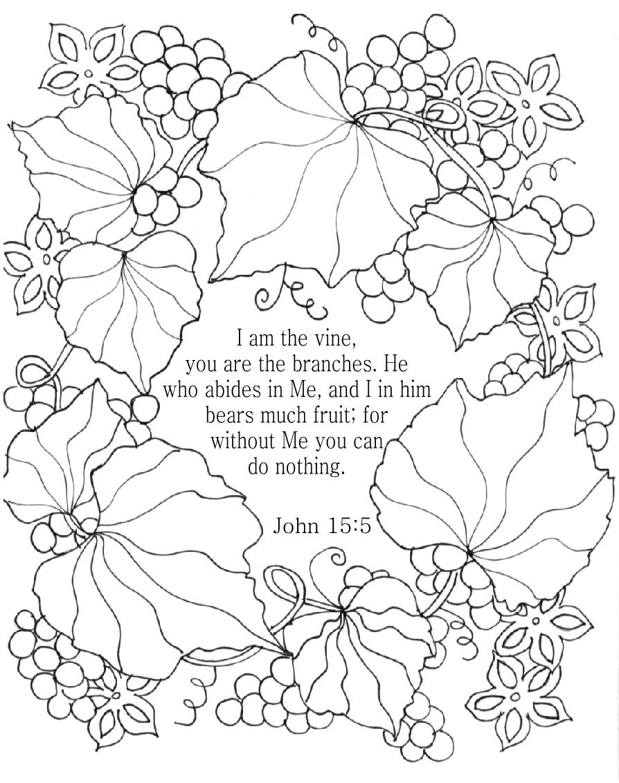 Thanksgiving coloring pages with bible verses - I Am The Vine Bible Coloring Page For Adults John 15 5 Nkjv