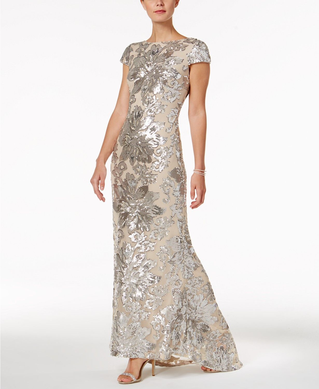 39674e878208 Calvin Klein Embellished Cowl-Back Gown - Dresses - Women - Macy s