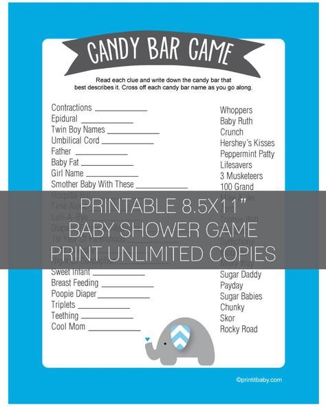Baby Shower Candy Bar Game   Blue Elephant Theme   Print It Baby