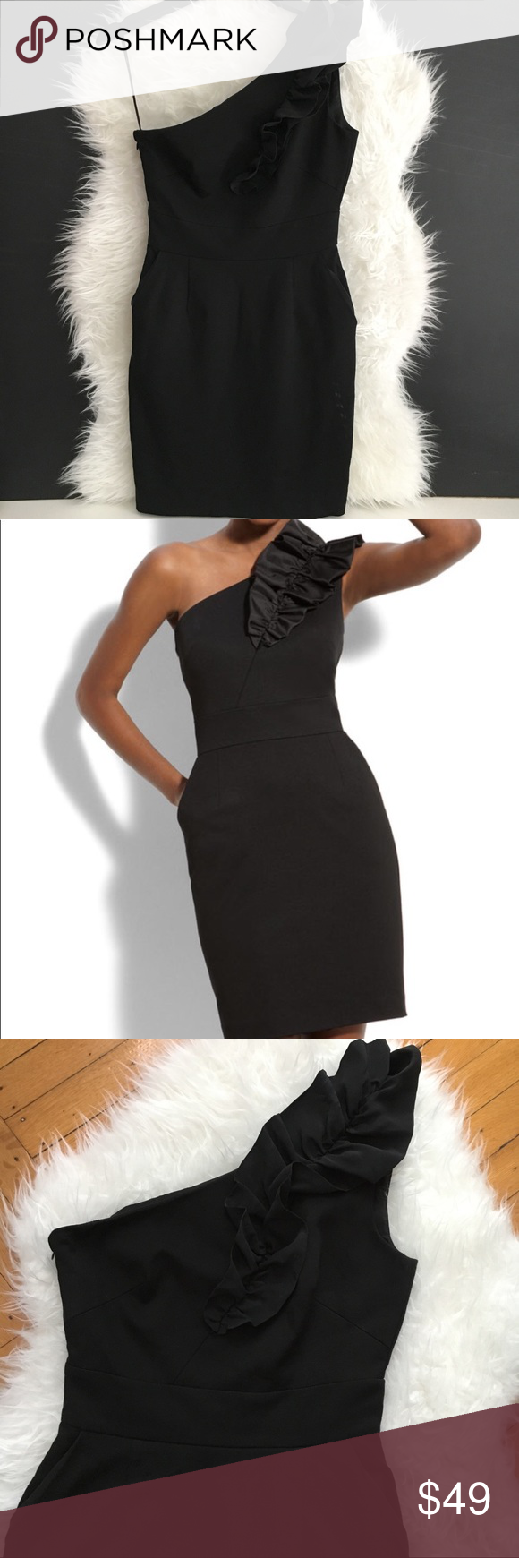 Trina turk one shoulder cocktail dress size