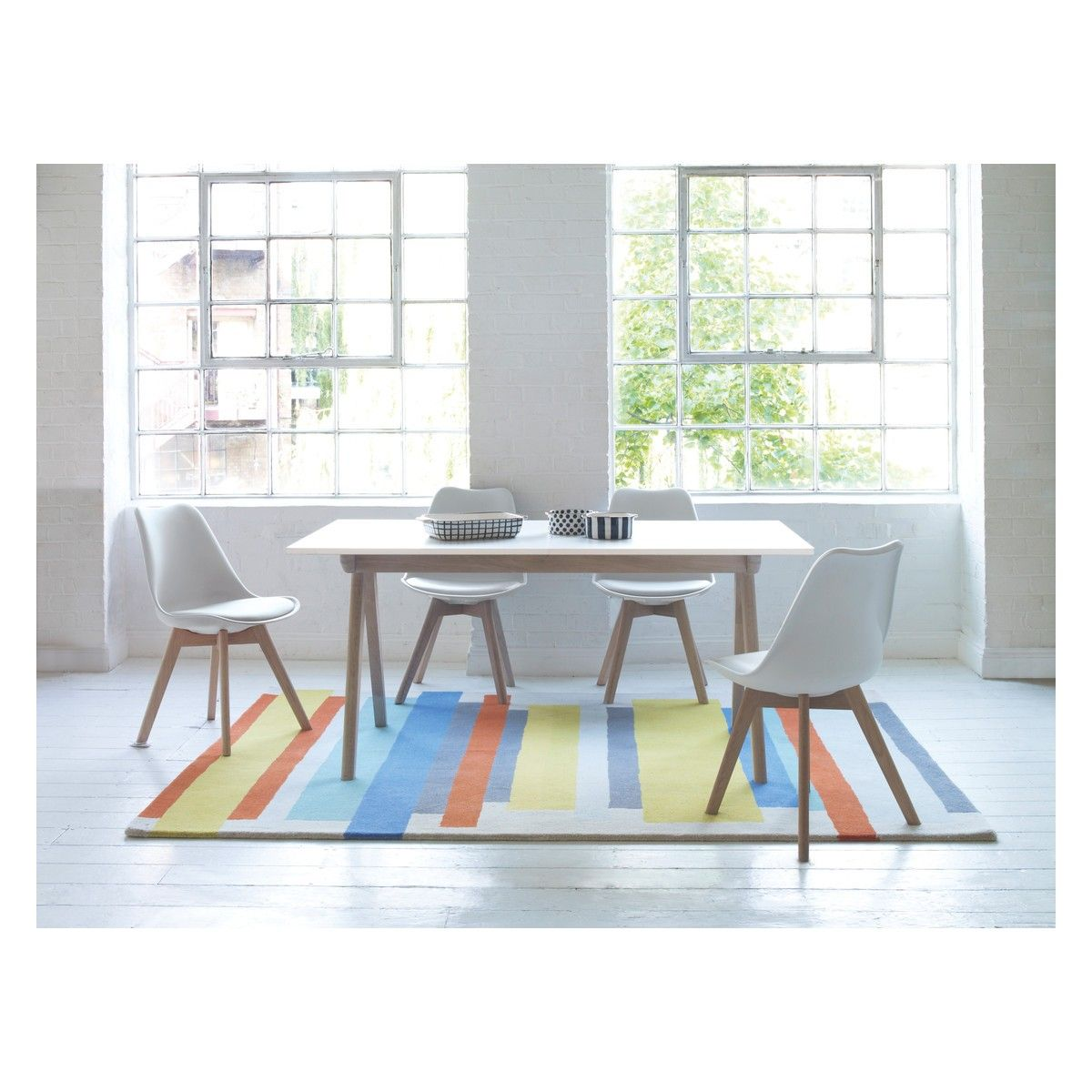 JERRY Dining set with white extending table and 4 white chairs