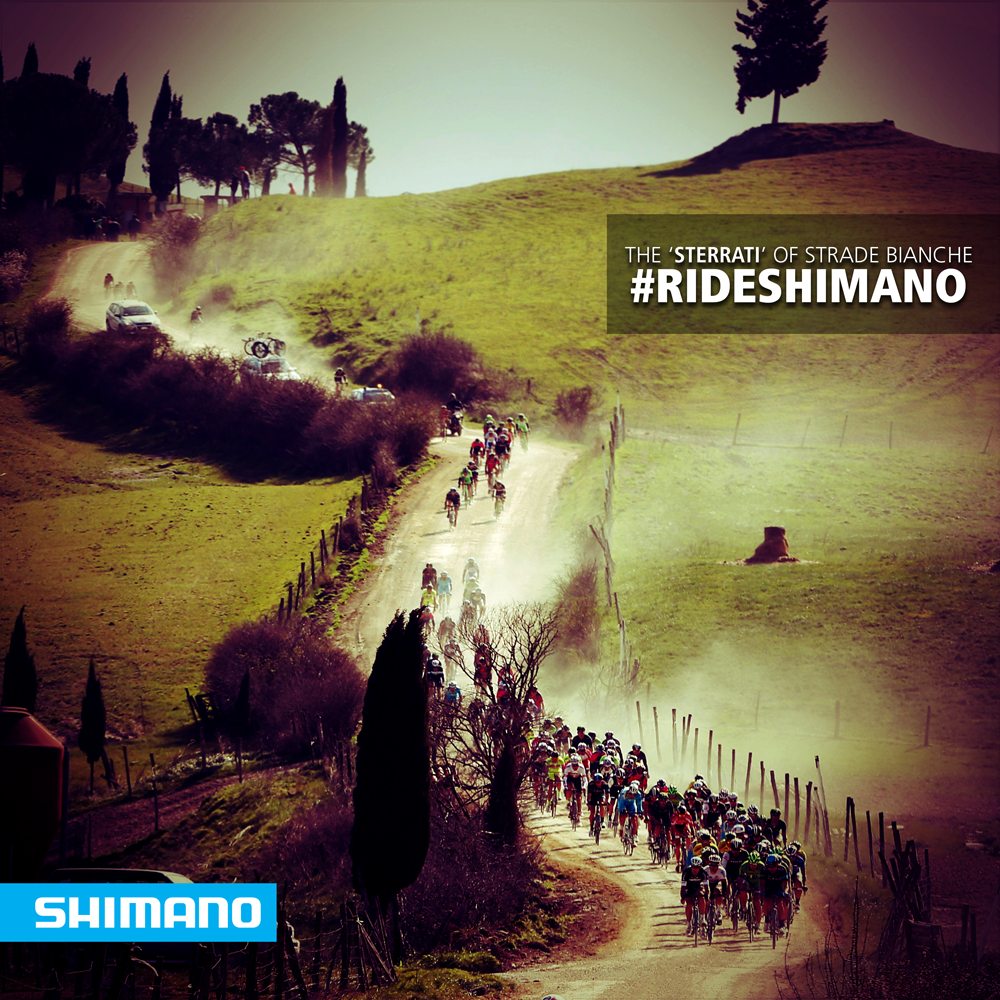 ShimanoROAD @ShimanoROAD Tomorrow is Strade Bianche. Do you know how many kilometers of 'sterrati' the peloton will ride tomorrow? pic.twitter.com/8uFFyQDJPU