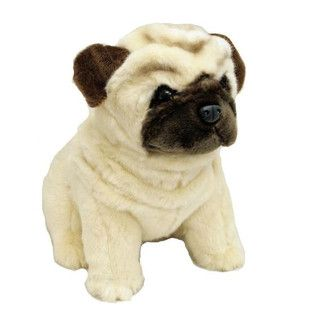 Pug Dog Stuffed Animal Plush Toy Sitting Fawn Medium Carlotta