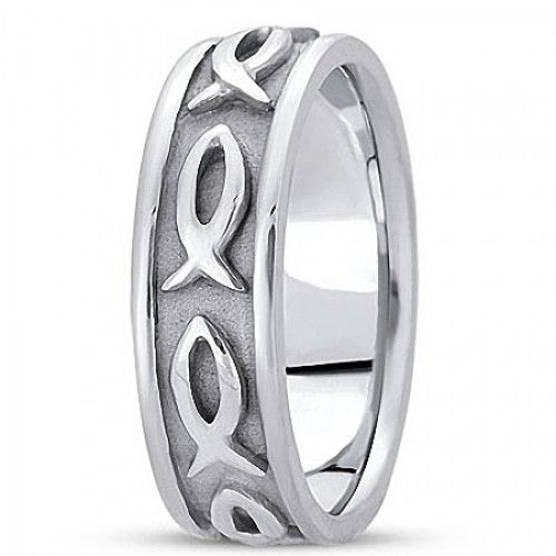 Christian Wedding Ring With Jesus Fish Symbol 71295 Available