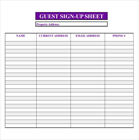 free open house printable sign in sheet - Yahoo Image Search Results