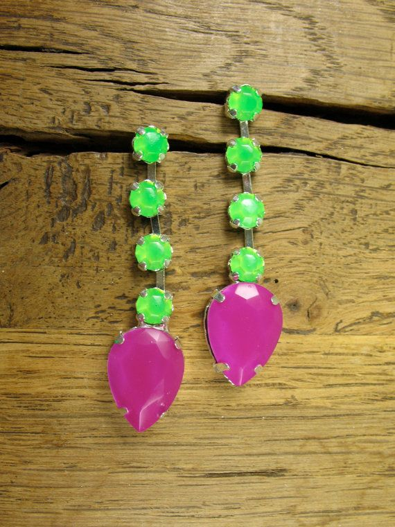 Electric Neon Grape and Tropical Green Crystal by rockspapermetal
