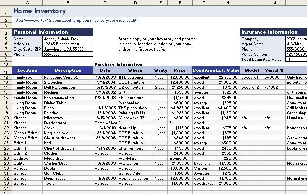 Download a Free Home-Inventory Spreadsheet PCWorld Home