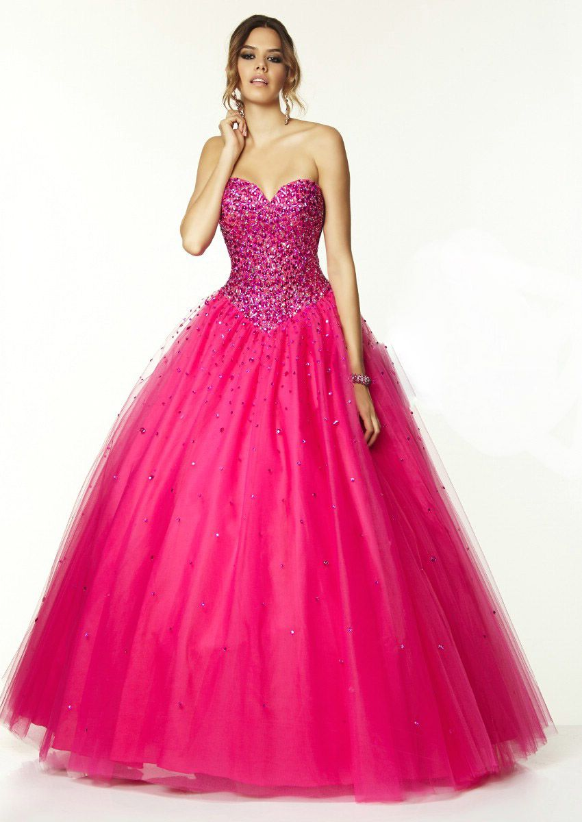 Shiny+Hot+Pink+Sweetheart+Floor+Length+Tulle+Ball+Gown+Prom+Dresses+ ...