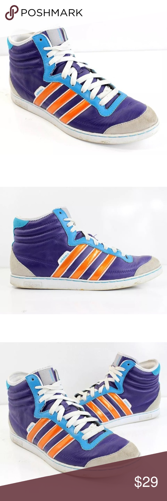 more photos 7fd71 55fe1 Mens Adidas Neo Hi Purple Orange Blue Leather Shoe Men s Adidas NEO High-Top  Shoe Great condition - free of any notable defects Soles show very minor  wear ...