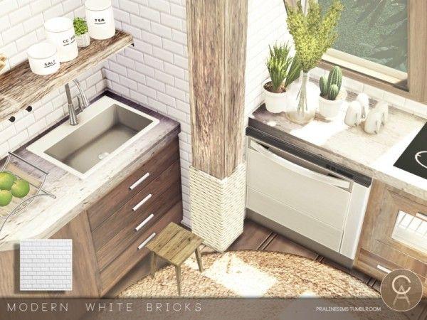 Modern White Bricks By Cross Architecture For The Sims 4 Sims Móveis Decoração Decoração Cozinha