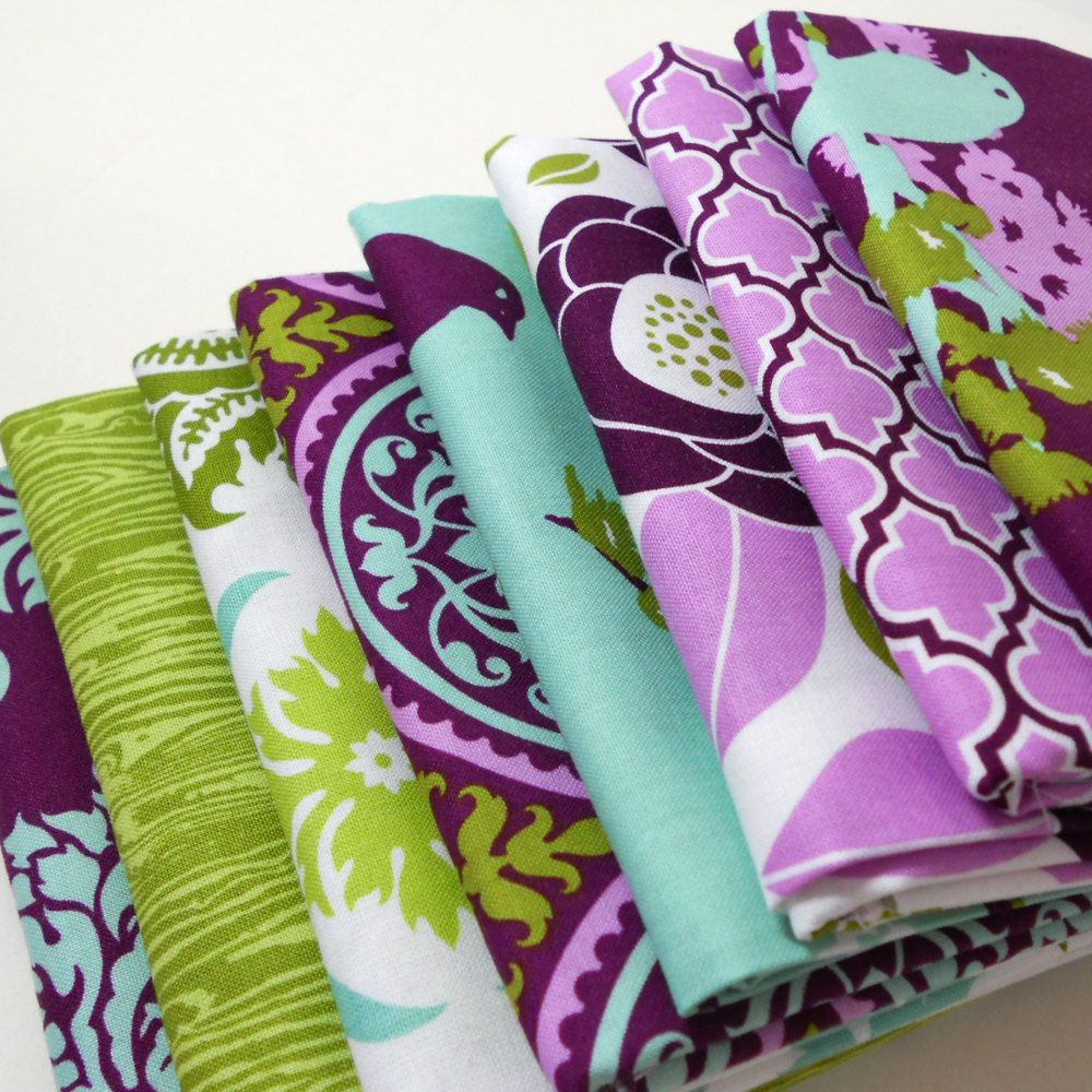 Joel Dewberry Fabric Bundle Aviary2 for Free Spirit - Lilac Palette Fat Quarter Bundle - 8 Fat Quarters. $21.95, via Etsy.